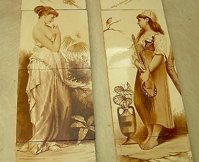 "Pair original Antique Hand Painted 8"" tile panels - MINTON HOLLINS c1875"