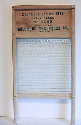 Vintage Columbus Wood Washboard Co. Columbus Oh. Heavy Glass- No. 2080