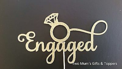 Engaged Cake Topper - Engagement Cake Topper - Bridal Shower Cake Topper 300GSM
