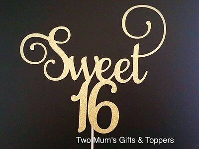 Glitter 'Sweet 16' Cake Topper - Sixteen - Birthday Cake Topper 300GSM