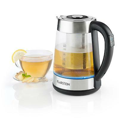 Klarstein Electric Tea Water Kettle Stainer 1.7 L Glass Stainless Steel Led