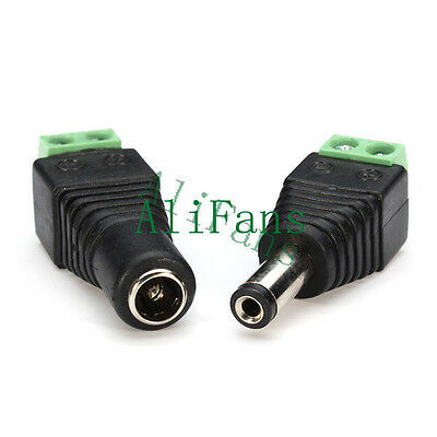 2Pair Male Female Plug 12V DC Power Jack Connector Adapter CCTV Camera 2.1x5.5mm
