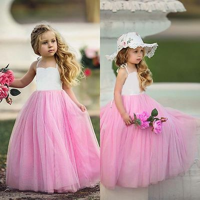 Flower Girl Princess Tulle Dress Kid Baby Wedding Party Pageant Bridesmaid Dress
