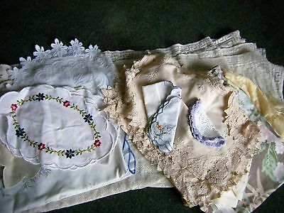 Job Lot of 17 Assorted Embroidered Table Linen -Tray Cloths & Tablecloths