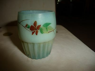 #1226 vtg toothpick holder painted blue MILK GLASS ? w flowers