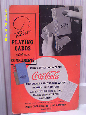 "Coca Cola Playing Cards/Coupons 12"" x 18"" Display Sign from 1938 RARE!"