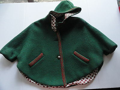 Vintage Childs Austrian BOOS Munchen Modell Green Boiled Wool Lined Cape