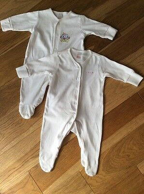 Next Baby Girls / Boys Sleepsuits Babygrows White Set 0-3 Months
