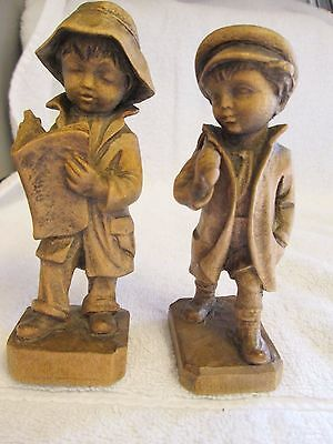 Vintage Hand Carved Wooden Boy Figures