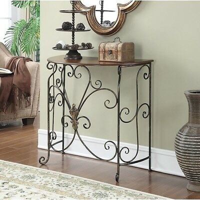 Entryway Console Table Hallway Living Room Furniture Black Antiqued Finish New