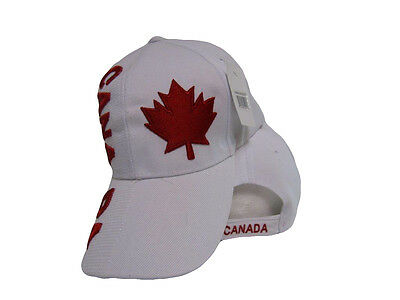 Canada Canadian Maple Leaf Country Letters Flag White Hat Cap 3D embroidered