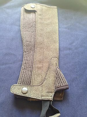 Childs half chaps, elasticated with zipper.  Suede effect, washable.