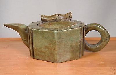 Vintage Chinese Carved Soapstone Miniature Teapot