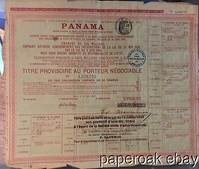 Original 1888 French Stock Certificate For Ill-Fated Panama Canal