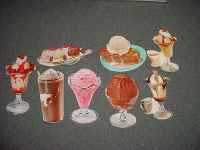 Original Vintage Lot Of 8 1960's Ice Cream Die Cut Paper Sign   Lot Number 2