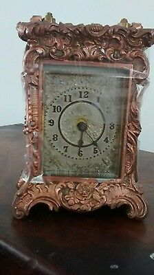 vintage brass ornate rococo style minature carriage clock