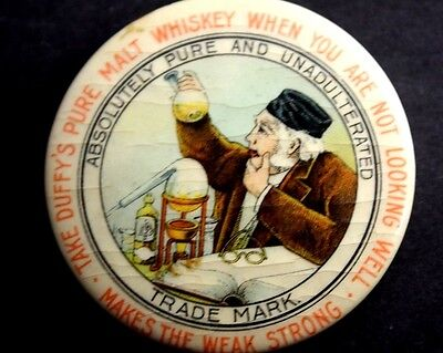 Antique Duffy's Pure Malt Whiskey Advertising Celluloid Button Pocket Mirror
