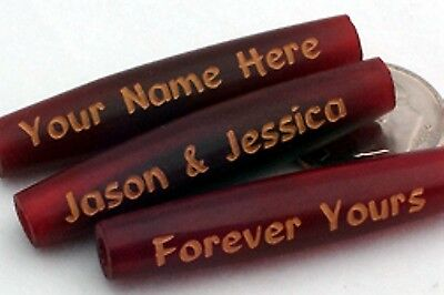 Red Horn Hairpipe 1 1/2 inch  Beads - 38 mm - Custom Engraved - 2 mm Hole