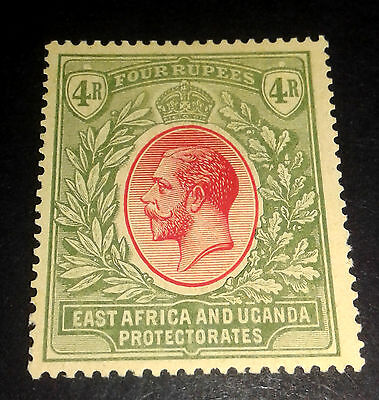 "EAST AFRICA UGANDA EAP 1912 KGV 4R MCA ""on PALE YELLOW"" FINE MINT SG 56a (52a)"