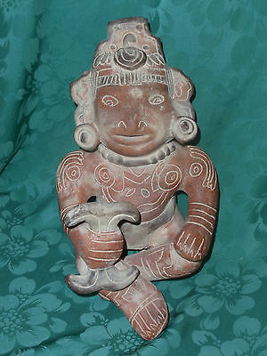VINTAGE PRE COLUMBIAN POTTERY Mexican REPRODUCTION MAN WITH RATTLE