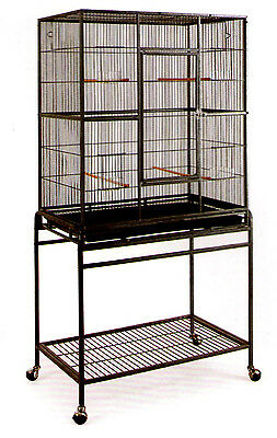 New Large Wrought Iron Flight Cage W/Stand Bird Cockatiel Cage BLK 15A-468