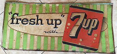 Vintage Fresh Up with 7up Tin Embossed Advertising Sign Barn Find