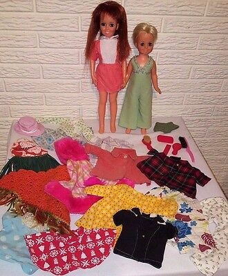 Vintage 1968 Crissy Velvet TLC Doll Lot with clothes Ideal Toy Corp