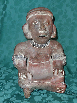 VINTAGE PRE COLUMBIAN SITTING MAYA FIGURE AZTEC MEXICO reproduction pottery