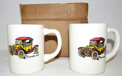2 Chevrolet Ceramic Mugs featuring 1913 Chevy MIB from Chevy Dealership