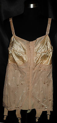 ~ Vintage Burlesque FAMISE Brocade & Satin Bust Corsolette Open Bottom Girdle 38