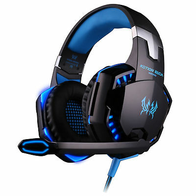KOTION EACH G2000 Gaming Headset LED USB+3.5mm Surround Stereo Headphone Blue
