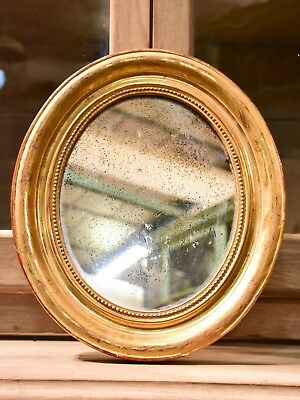 Mid 19th century oval Louis Philippe mirror antique
