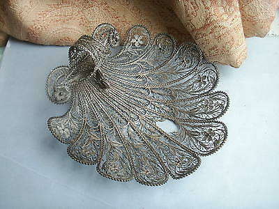Old Vintage Antique Silver Hand Made Filigree Scallop Shell dish for repair Fine