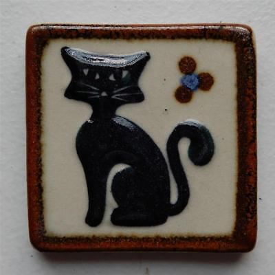 Black Cat Sitting by Flower Mexican Ceramic Tile, Tonala Wall Art