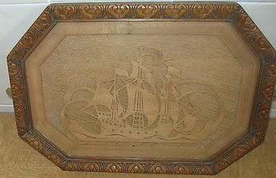 Antique Wood Cut-Out Silhouette - Sailing Ship - Under Glass -  Carved Frame
