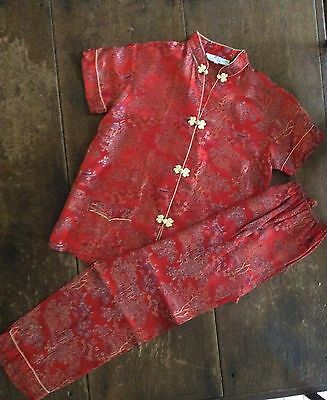 VINTAGE 1940's 50's Girls ASIAN Satin Brocade & Silk Pajamas 12