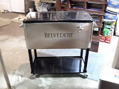 Rare Belvedere Vodka Metal Dual Bin Large Rolling Party Cooler Sign Logo Caterer