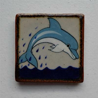 Dolphin Jumping over Water Mexican Ceramic Tile, Tonala Wall Art