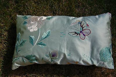 Antique Chinese silk embroidered with butterflies, flowers and a lotus leaf
