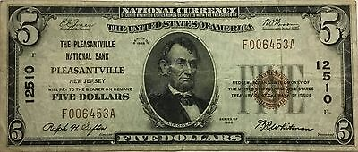 $5 1929 Pleasantville New Jersey National Currency Bank Note Bill!    F 006453 A