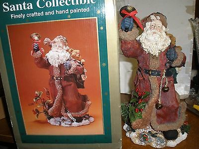 Eluceo Beautiful large Santa figure with bear ringing a bell