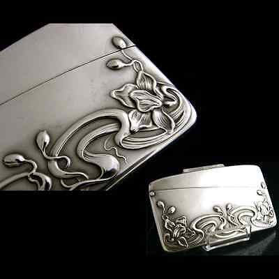 Antique stunning curved Sterling Silver Card Case Art Nouveau c1900 French swiss