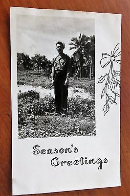 """WWII """"Season's Greetings"""" Photo of Navy Man in the Marianas"""