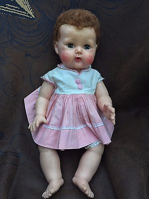 "1950s American Character Doll Company Tiny Tears 16"" Rubber Body"