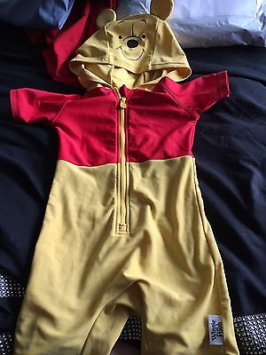 Size 18-24 Months Yellow & Red Winnie The Poo Hooded Swim Suit / Sun Suit