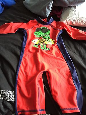 Size 18-24 Months Red & Blue Cool Crocodile Boys Swim / Sun Suit