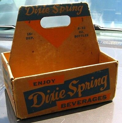 Vintage Dixie Spring Beverages Water Soda Bottle Carrier Crate Advertising Sign
