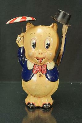 1939 Marx Warner Brothers Porky The Pig W/ Umbrella And Top Hat Tin Wind Up Toy