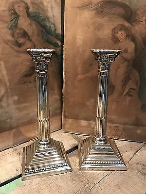 Antique Victorian Silver Plated Large 31cm Corinthian Column Candlesticks PAIR