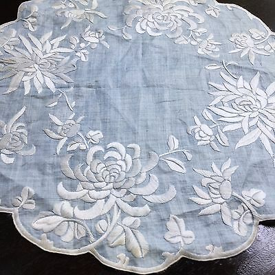 Antique Chinese Embroidered Silk Doily Table Set Society Blue White Floral VTG